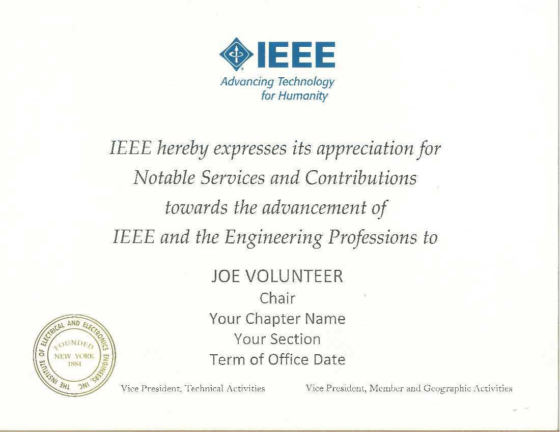 IEEE Chapter Chair Certificate