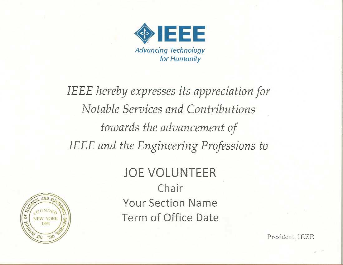 IEEE Section Chair Certificate