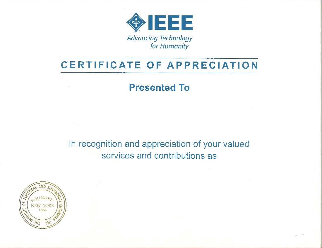 Certificate of Appreciate w/o Signiture