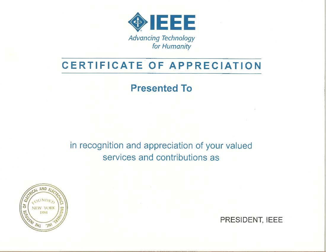Certificate with Signature of IEEE President.